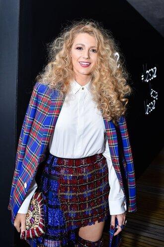shirt coat white shirt skirt boots blake lively met gala met gala 2018 celebrity plaid curly hair