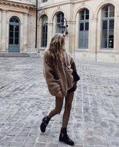 coat,tumblr,beige coat,camel,camel coat,beige fluffy coat,fluffy,fuzzy coat,tights,fishnet tights,net tights,boots,black boots,flat boots,cut out ankle boots,ankle boots,teddy bear coat