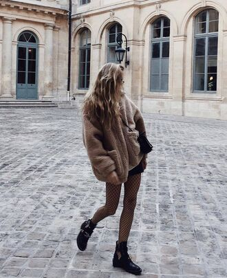 coat tumblr beige coat camel camel coat beige fluffy coat fluffy fuzzy coat tights fishnet tights net tights boots black boots flat boots cut out ankle boots ankle boots teddy bear coat