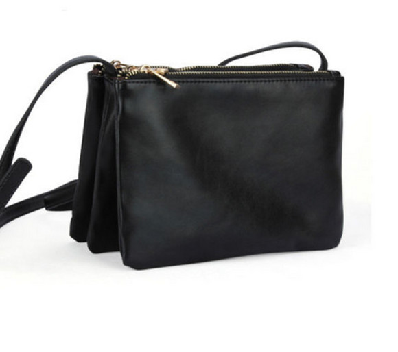 bag black bag purse three zipper fashion clutch black leather purse black purse