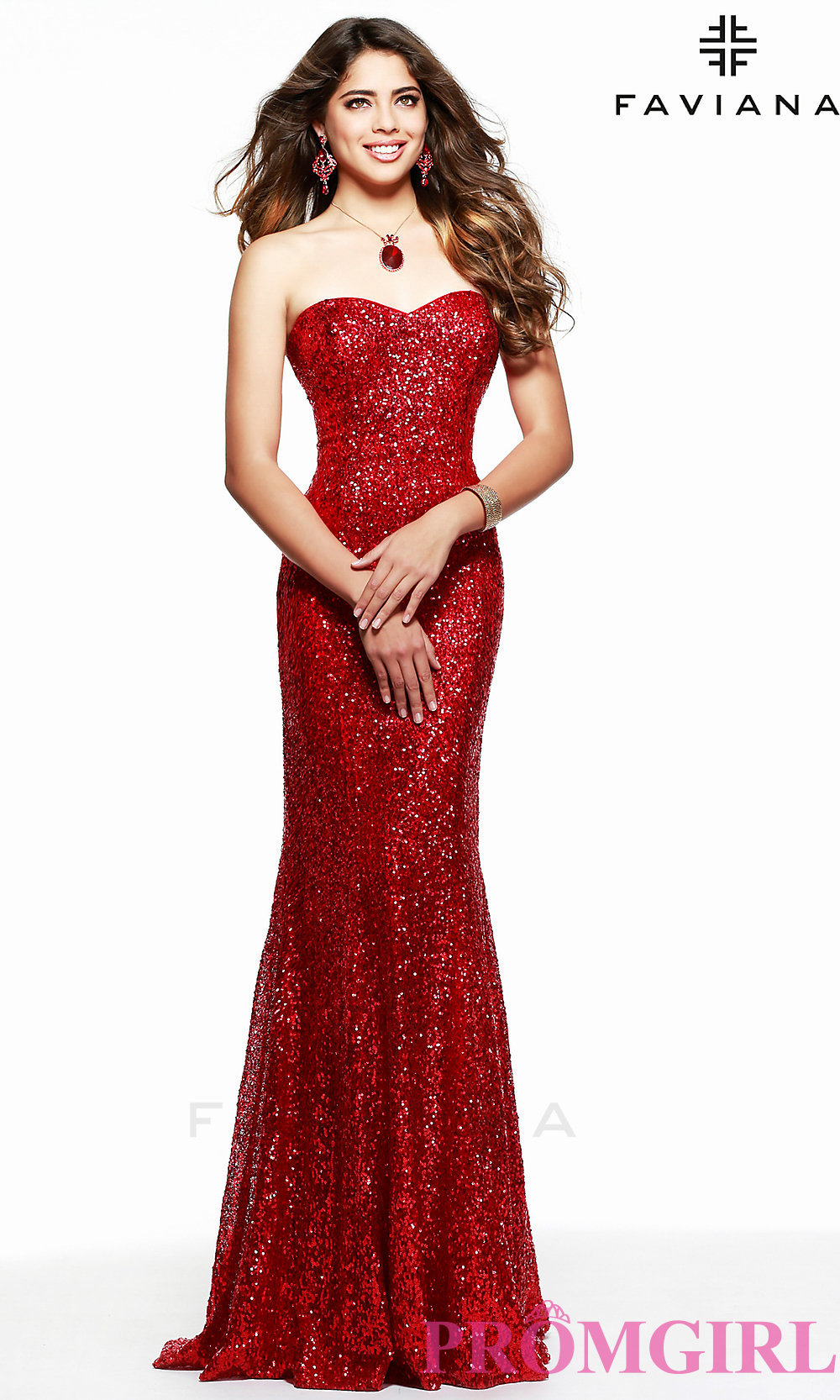 Strapless Sweetheart Sequin Formal Gown by Faviana