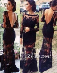 Black Backless Long Lace Prom Dresses, Formal Dress,Evening Dresses - 24prom