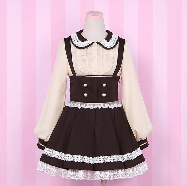 dress cream brown japanese japanese fashion kawaii cute outfit blouse skirt with suspenders skirt suspenders high waisted skirt lace chiffon blouse chiffon pleated pleated skirt lolita lolita dress