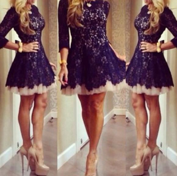 pretty dress navy dress lace dress
