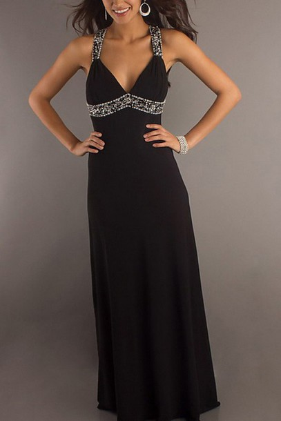 dress black dress long prom dress fashion
