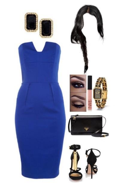 dress blue earings bag heels cocktail dress