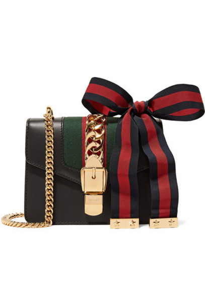 f66b9dc8ad61 Gucci - Sylvie Mini Chain-embellished Leather Shoulder Bag - Black ...