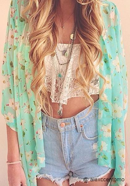 Floral Crop Sleeves Kimono - Top | Lookbook Store
