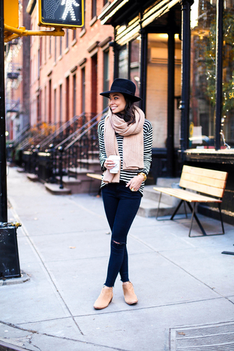 with love from kat blogger scarf shoes jeans sweater hat stripes