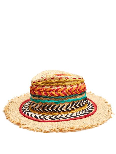 ETRO Woven silk and raffia panama hat in red / multi