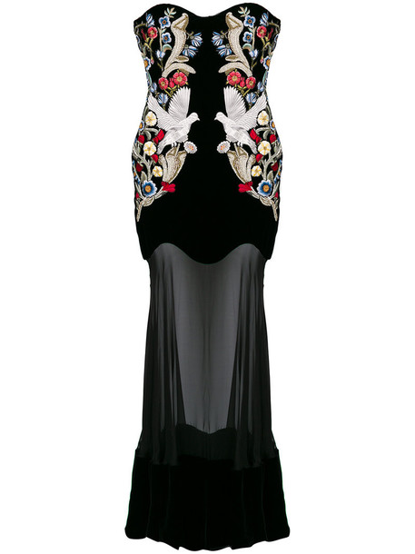 Alexander Mcqueen gown embroidered women black silk dress