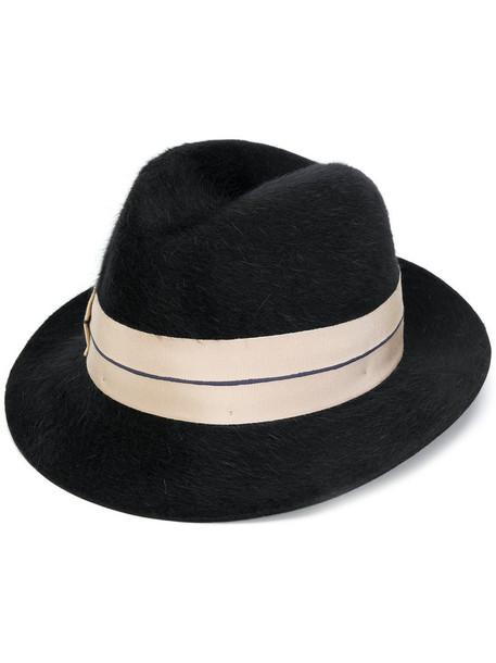 Borsalino hair women hat black camel