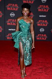 dress,asymmetrical,lupita nyong'o,bustier dress,slit dress,sandals