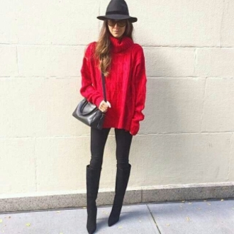 sweater bright red sweater