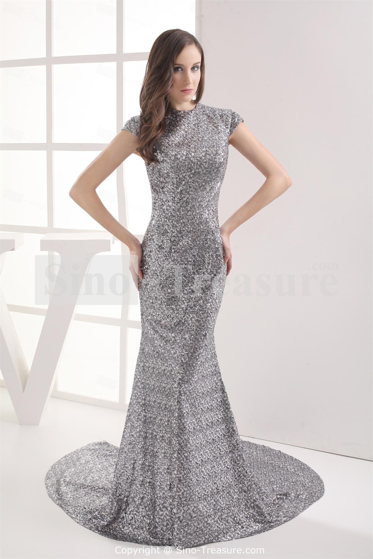 Sleeveless spring hourglass brush train split silver for Silver dress for wedding