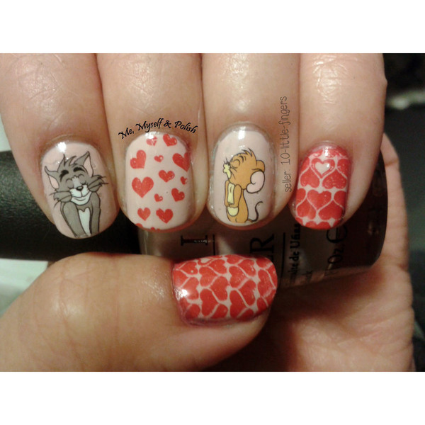 nail accessories nails nails art manicure pedicure stickers decals blown tom jerry heart silver grey diy