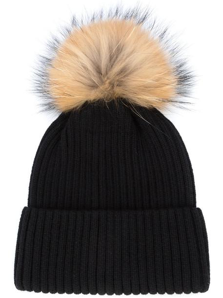 SAM. fur women beanie pom pom beanie black wool hat