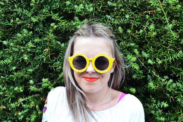 sunglasses sunnies yellow sunglasses yellow tumblr gypsy blogger bright