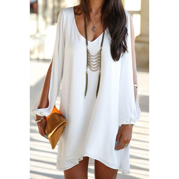 Wholesale Elegant Women's V-Neck Long Sleeve Loose-Fitting White Chiffon Dress (WHITE,S), Chiffon Dresses - Rosewholesale.com