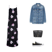 dress,black,black dress,floral dress,flowers,denim jacket,converse