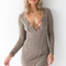 Strung out knit dress in tan - black swallow boutique