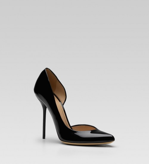 Gucci black patent leather high heel cut-out pumps