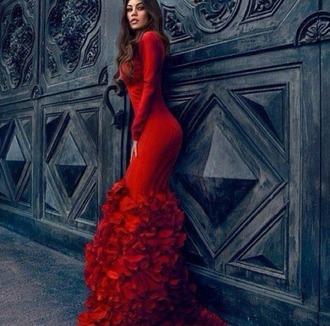 dress red dress mermaid ruffle tight