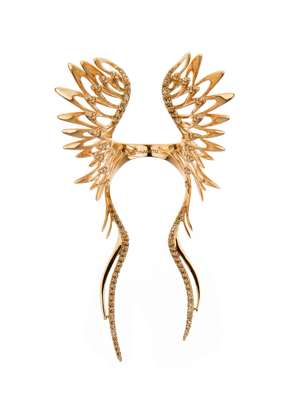 Cristina Ortiz Rings :: Cristina Ortiz pink gold and brown diamonds Wings ring | Montaigne Market