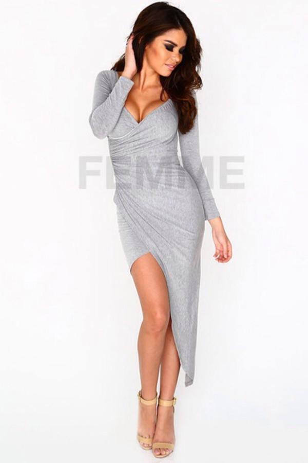 grey homecoming dress long sleeve dress dress ebonylace bonylacefashion www.ebonylace.net