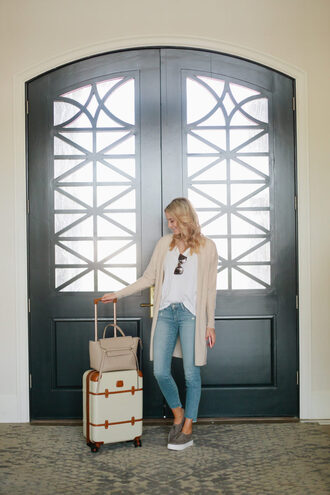 ivory lane blogger cardigan jeans shoes sunglasses bag white top skinny jeans cropped jeans nude nude bag grey sneakers travel vince celine bag celine
