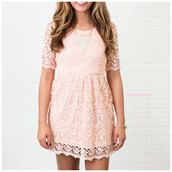 dress,peach,peach dress,lace,unlined arms,amazinglace