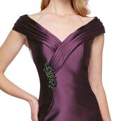 dress,mon cheri,fit and flare dress,mob dress,purple dress,evening dress