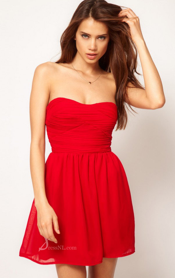 Low Price Natural Strapless Short Polyester Red Dress -Whobeds.com