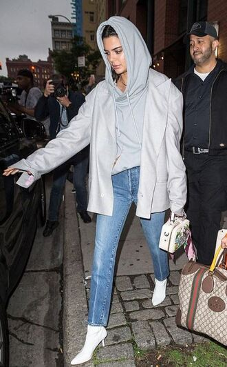 bag jacket hoodie kendall jenner jeans kardashians model off-duty