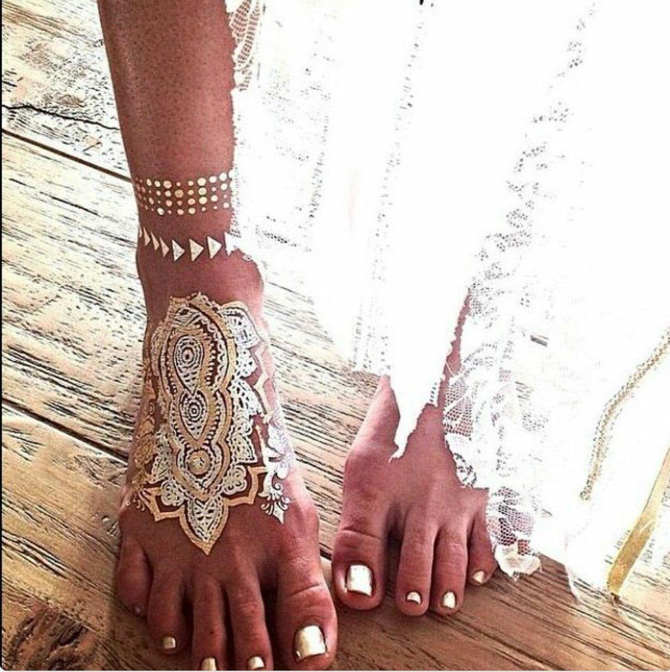Henna Tattoo Gold : Metallic gold silver and black temporary henna tattoos