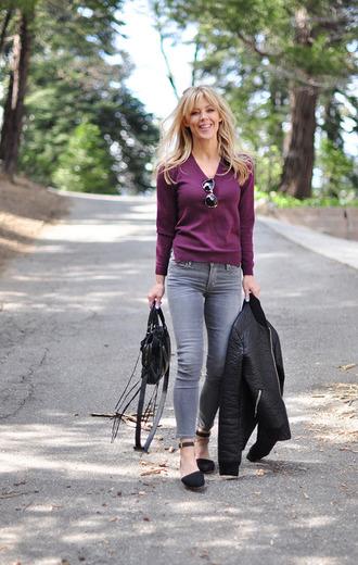 love maegan blogger jeans jacket sunglasses