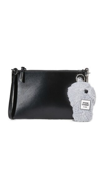 zip clutch black bag