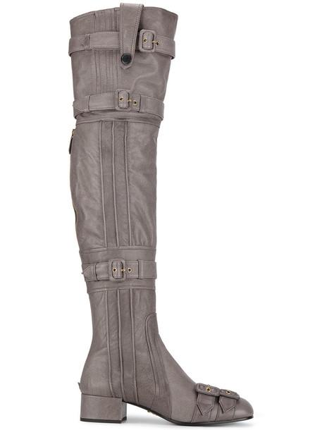 Prada high women leather grey shoes