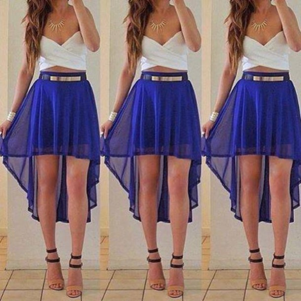 skirt blue white shoes high heels necklace high low