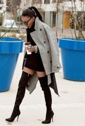 shoes,ponytail,jacket,high heels,heels,high boots,grey coat,coat,pea coat,black dress,style,chic,ootd,dope,louboutin,black sunglasses,sleek,sleek fashion,new york city,classy,knee high boots,dress,sexy dress,drink,fashion,red bottoms,black heels,black boots,streetwear,streetstyle
