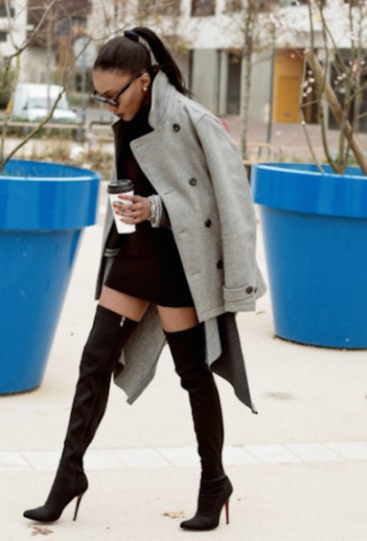 shoes ponytail jacket high heels heels high boots grey coat coat pea coat black dress style chic ootd dope louboutin black sunglasses sleek sleek fashion new york city classy knee high boots dress sexy dress drink fashion red bottoms black heels black boots streetwear streetstyle