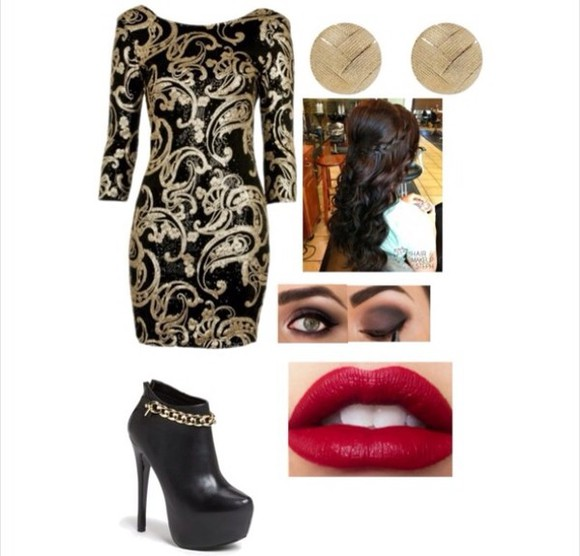dress shoes hair black and gold dress black booties with gold accents gold earrings makeup