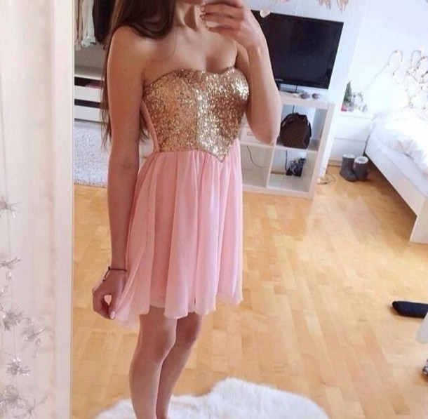 dress glitter dress pink dress brand dance dress gold gold sparkles light pink dress light pink glitter pink gold sequins elegant short sequin dress sequins bustier dress cute cute dress! girly grad prom graduation