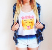 top,lovely,emoji crop top,emoji print,crop tops,tank top,fashion,cute shirt,graphic tee,flannel shirt