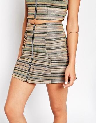 skirt striped skirt zipped skirt