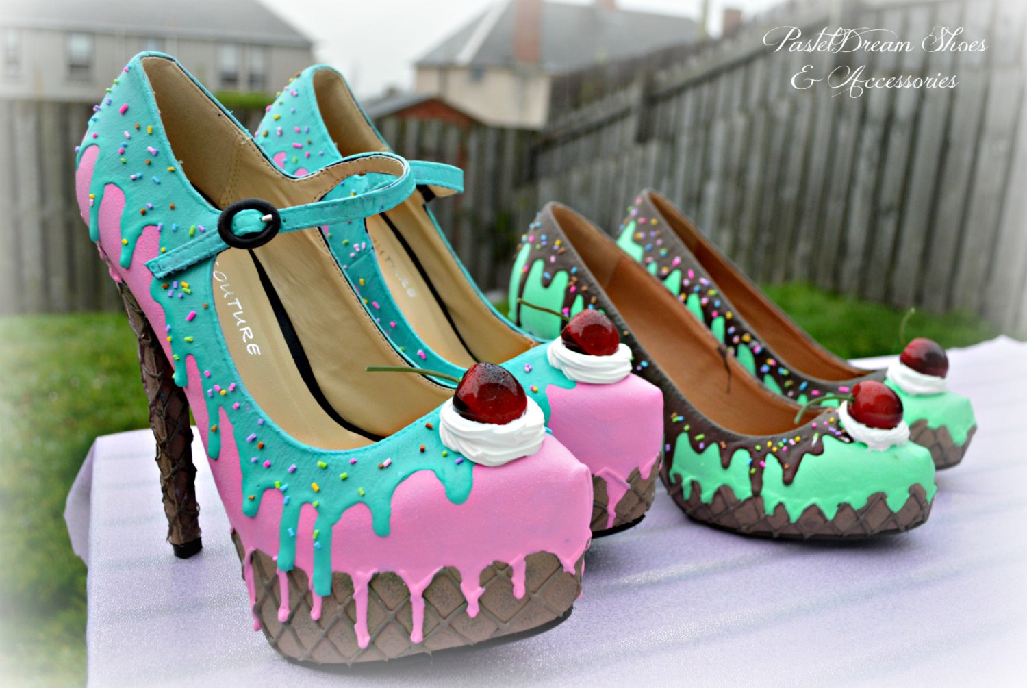 drippy icecream cupcake custom made heels shoes one of the