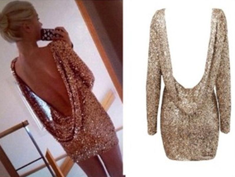 Sexy golden shining backless dress