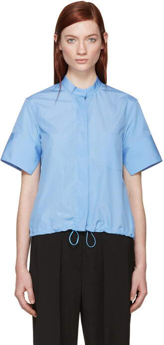 shirt drawstring blue top