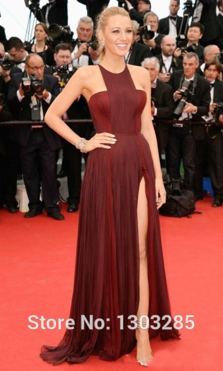 Aliexpress.com : buy 2014 vestido de festa sexy blake lively dress o neck a line natural waist floor length chiffon party celebrity dresses from reliable dresses prom suppliers on sexybridalqueen