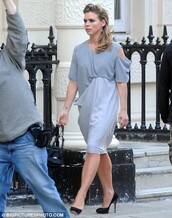 dress,drape,shift dress,grey dress,grey,secret diary of a call girl,billie piper,cut-out,open shoulder,draped dress